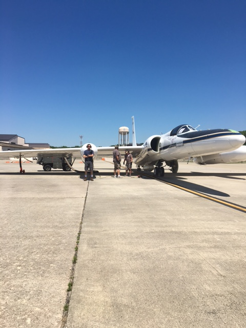 The ground crew stands with the NASA ER-2 airplane during the GOES-16 field campaign.