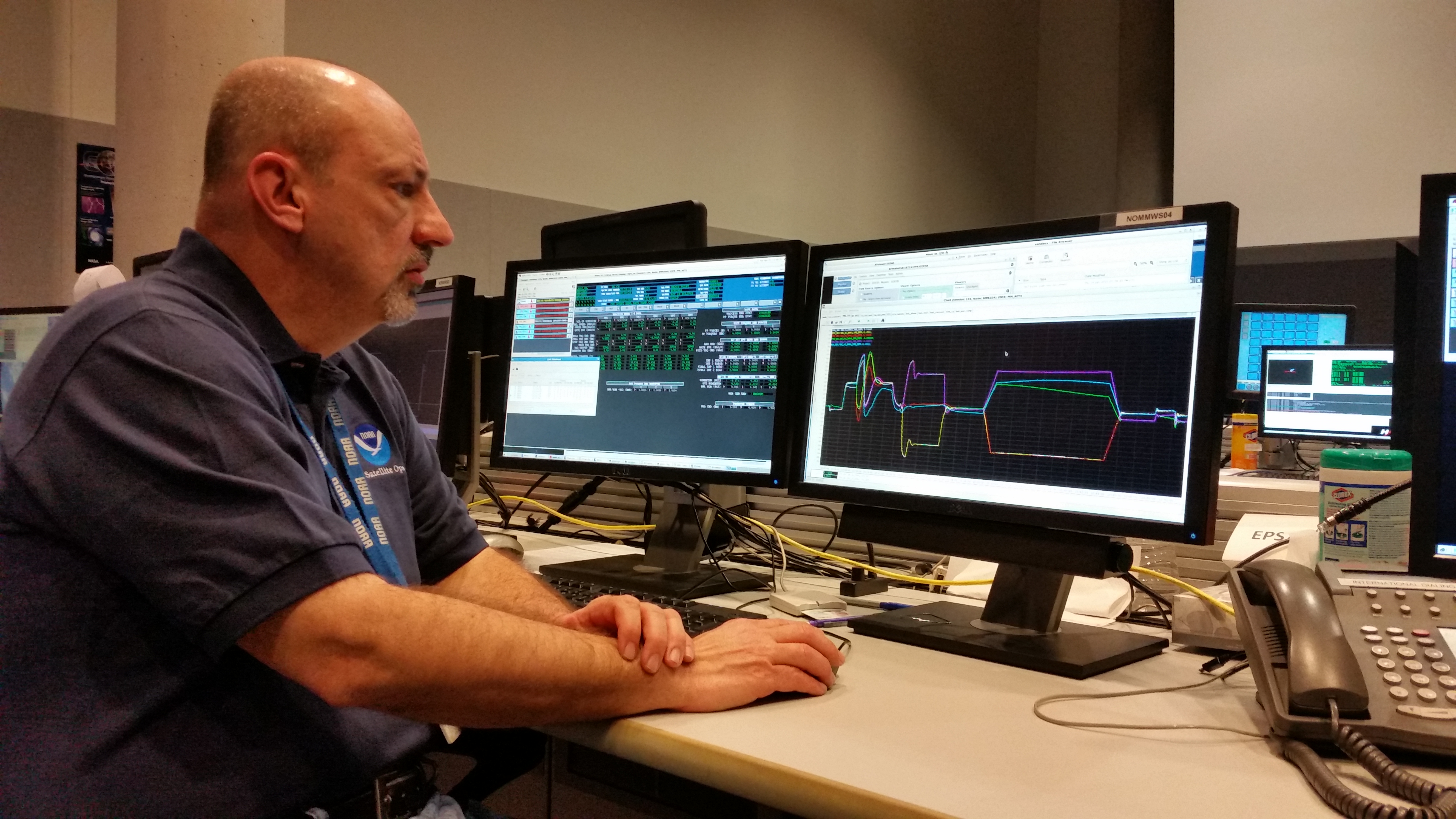 Photograph of Tom Boyd at NOAA's Satellite Operation Control Center.