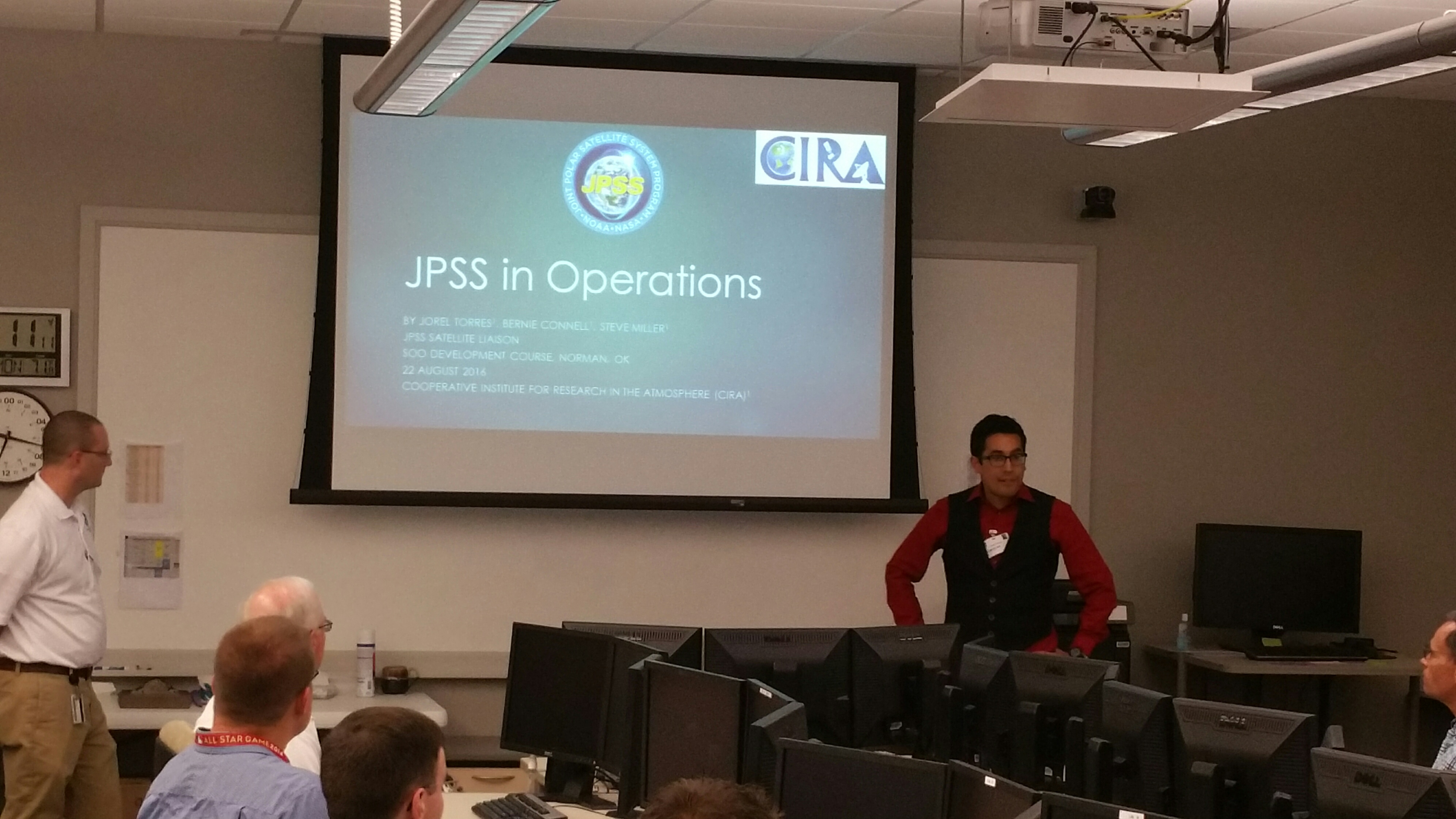 Jorel Torres speaking about JPSS products to National Weather Service (NWS) Science and Operations Officers (SOO) at the SOO Development Course in Norman, Oklahoma.