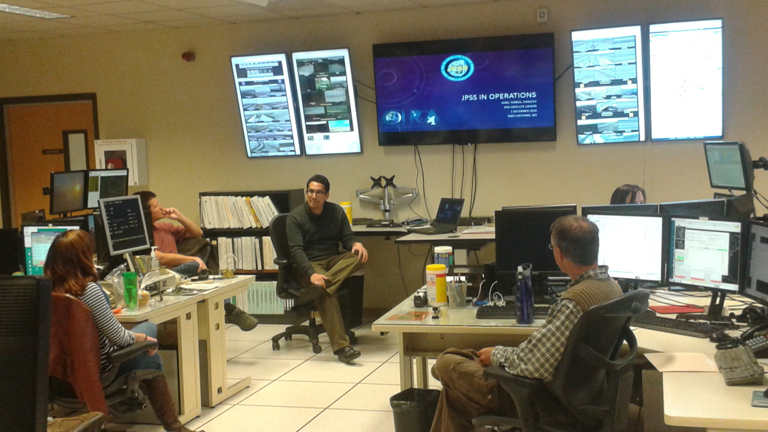 Torres speaking to NWS forecasters at the Weather Forecast Office (WFO) � Cheyenne, WY.