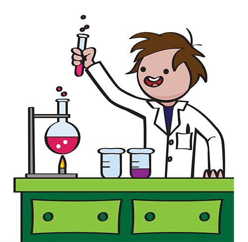 Cartoon of boy doing chemistry experiment in lab.