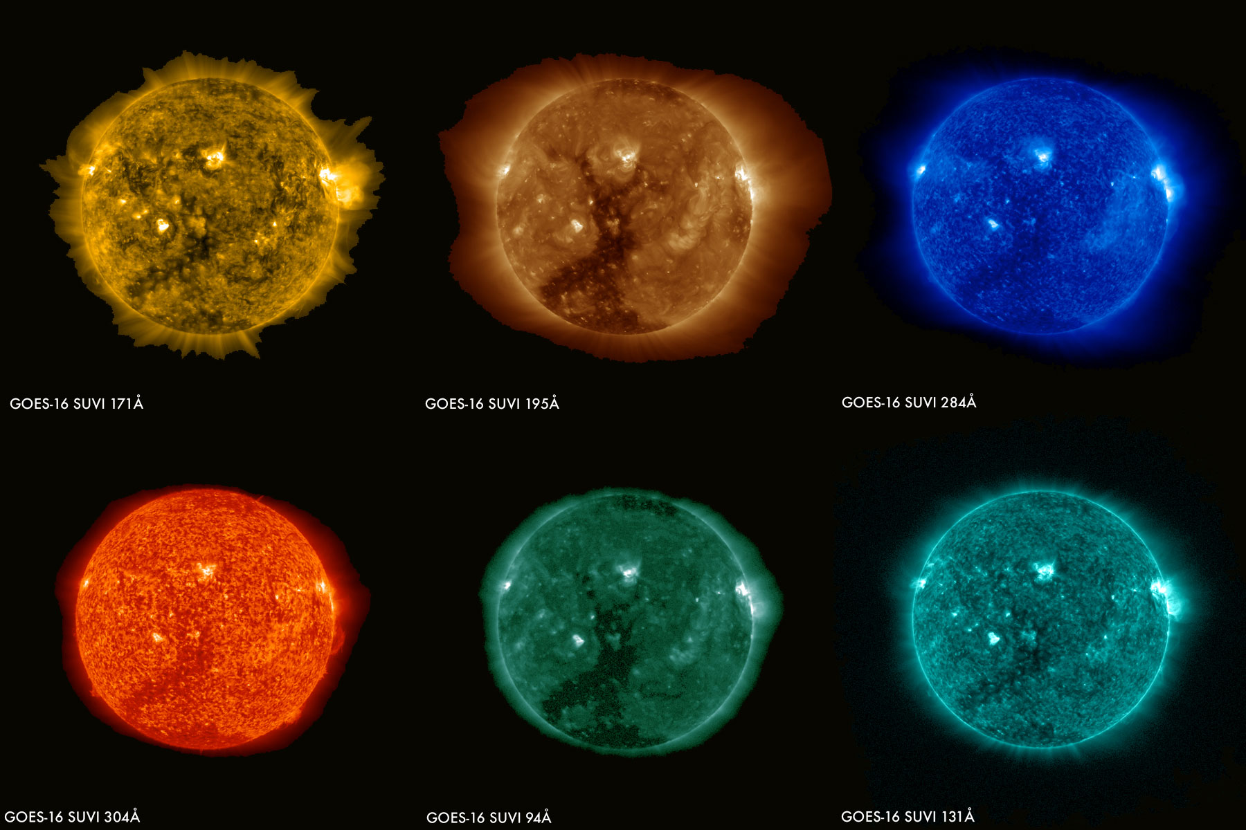 These images of the sun were captured at the same time on January 29, 2017 by the six channels on the SUVI instrument on board GOES-16.