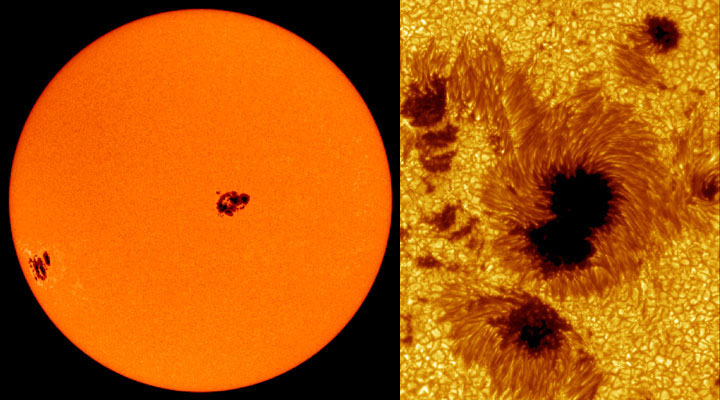 Image of Sun on left shows several dark spots. Image on right is closer view of sunspot area.