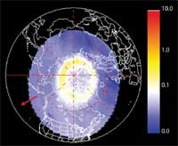 Pattern of colors shows yellow and white around North Pole, and blue extending down to mid-way to the equator.
