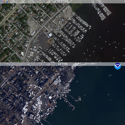 A photo of Staten Island before and after hurricane Sandy that shows boats further inland as a result of the flooding