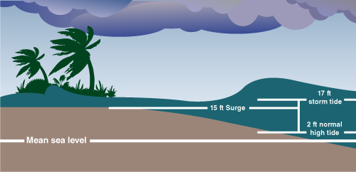 a diagram of a shoreline with water levels during high tide, low tide, and a storm surge