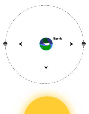 Neap tides occur when Moon's gravity pulls perpendicular to the Sun's gravity.