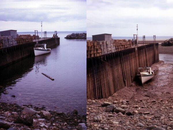 A boat in high tide (left) and low tide (right) in the Bay of Fundy in Canada.