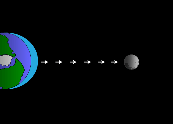 An illustration of the tidal force, viewed from Earth's North Pole. Water bulges toward the moon because of gravitational pull. Note: The moon is not actually this close to Earth.