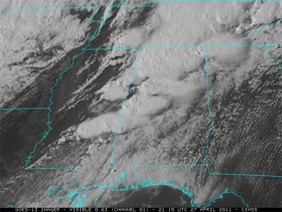 Image from GOES-13 on April 27, 2011, of the storms moving into Alabama.