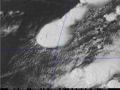 Still image of Joplin thunderstorm from GOES-13 satellite.