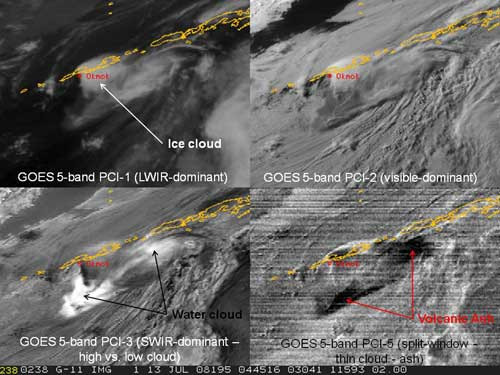 Four images, showing cloud features in shades of gray. Lower right-hand image shows a black area.