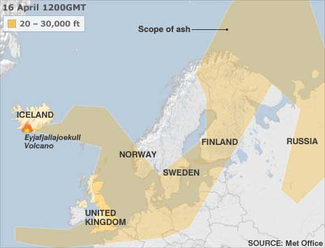 Map shows shadowed area extending from Iceland volcano and covering much of the United Kingdom and Europe.