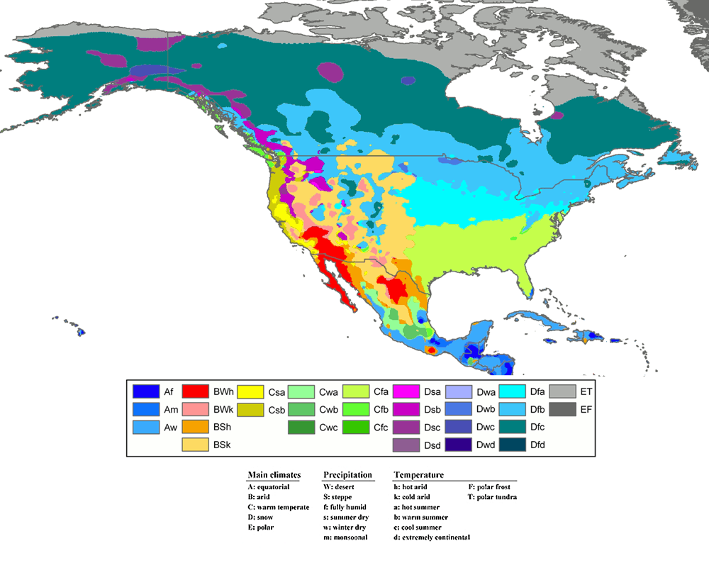NOAANASA SciJinks  Whats The Difference Between Weather And - Map of north america climate